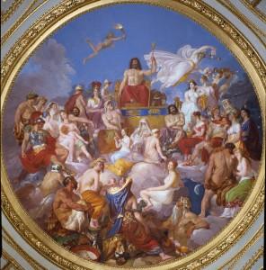 Le Concile des Dieux (ou Assemblee des Dieux) : Zeus sur l'Olympe entoure des divinites. Sont representes de haut en bas et sur la gauche : Ganymede, Athena, Poseidon, Hermes, Hephaistos, Aphrodite, Eros, les 3 Charites, Dionysos et Ares. Au centre : les Moires (Parques), Demeter et Pan. Sur la droite : Nike, Hera, Hades, Asclepios, Apollon, Artemis, Heracles, Hebe (Juventas). Fresque de la voute de la salle de l'Iliade de Luigi Sabatelli (1772-1850) 1819-1825 Florence, palazzo Pitti ©Luisa Ricciarini/Leemage